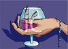 Woman's Hand Holding a Brandy Snifter clipart