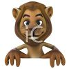 3D Lion Holding a Blank Sign clipart
