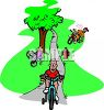 Kids Learning to Ride Bikes in the Park clipart