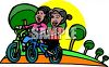 Girls Riding Bikes in the Park clipart