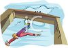 Guy Bungee Jumping from a Bridge clipart
