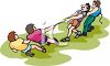 Men Having a Tug o War Contest clipart