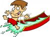 Little Boy on a Water Slide clipart