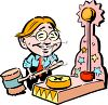 Caricature of a Man Hitting the Strength Hammer at a Carnival clipart