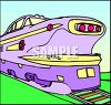 An Art Deco Train Engine clipart