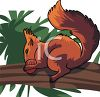 A Squirrel Carrying An Acorn clipart