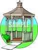 Wooden Gazebo in a Yard clipart
