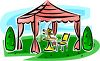 Canopy Shade in a Backyard clipart