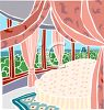 Draped Canopy Bed in a Room with a View clipart