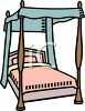 Wooden Canopy Bed clipart