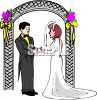 Bride and Groom Standing Under a Wedding Arch clipart