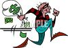 Bank Robber Running Away with a Bag of Money clipart