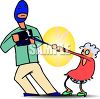 Man Wearing a Ski Mask Snatching an Old Lady's Purse clipart