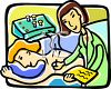 Woman Being Treated by Acupuncture clipart