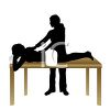 Silhouette of a Massage Therapist with a Patient clipart