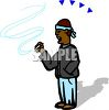 Black Guy Smoking a Cigarette clipart