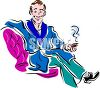 Man Wearing a Smoking Jacket Holding a Cigar clipart