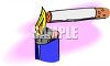 Disposable Lighter Lighting a Cigarette clipart