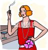 Flapper Woman Smoking a Cigarette clipart