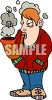 Cartoon of a Guy Smoking a Huge Pipe clipart