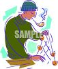 Fisherman Pulling Up His Nets clipart