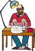 Writer Smoking a Pipe While Typing a Story clipart