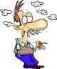 Cartoon of a Nervous Man Smoking Alot clipart