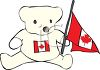 Stuffed Bear Holding a Canadian Flag clipart