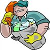 Cartoon of a Burly Garbageman clipart