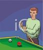 Guy Chalking a Pool Cue clipart