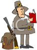 Pilgrim Looking at a Recipe Book for Turkey clipart