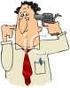 Cartoon of a Businessman with a Gun to His Head clipart