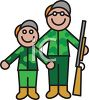 Boy and His Dad on a Hunting Trip clipart