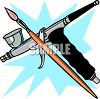Airbrush Gun and Paintbrush clipart