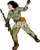 Female Soldier Throwing a Hand Grenade clipart