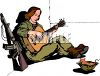 Female Soldier Playing  a Guitar During R and R clipart