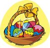 Basket Full Of Colorful Easter Eggs clipart