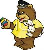 Bear Holding An Easter Egg And A Bunny clipart