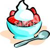 Bowl Of Strawberries With Whipped Cream clipart