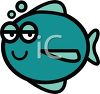 Cartoon of a Fat Fish with Bubbles clipart