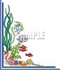 Border of fish and Seashells clipart