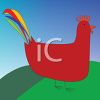 Cartoon of a Simple Rooster clipart