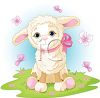 Cute Wooly Lamb with Butterflies clipart