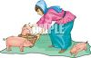 Little Peasant Girl Feeding Piglets clipart