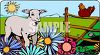 Morning on a Farm with a Lamb and a Chicken clipart