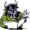 Bull Reading the Stock Market Newspaper clipart