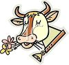 Cow with Flowers and a Bell clipart