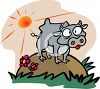 Crazy Cartoon Cow Standing on a Hill clipart