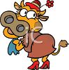 Cartoon of a Cute Girl Cow Wearing a hat clipart