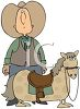 Big Cowboy with a Little Horse Cartoon clipart